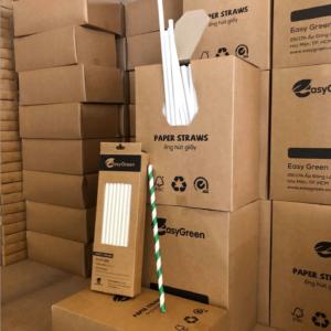 Ống hút giấy được đóng gói bằng vật liệu thân thiện môi trường