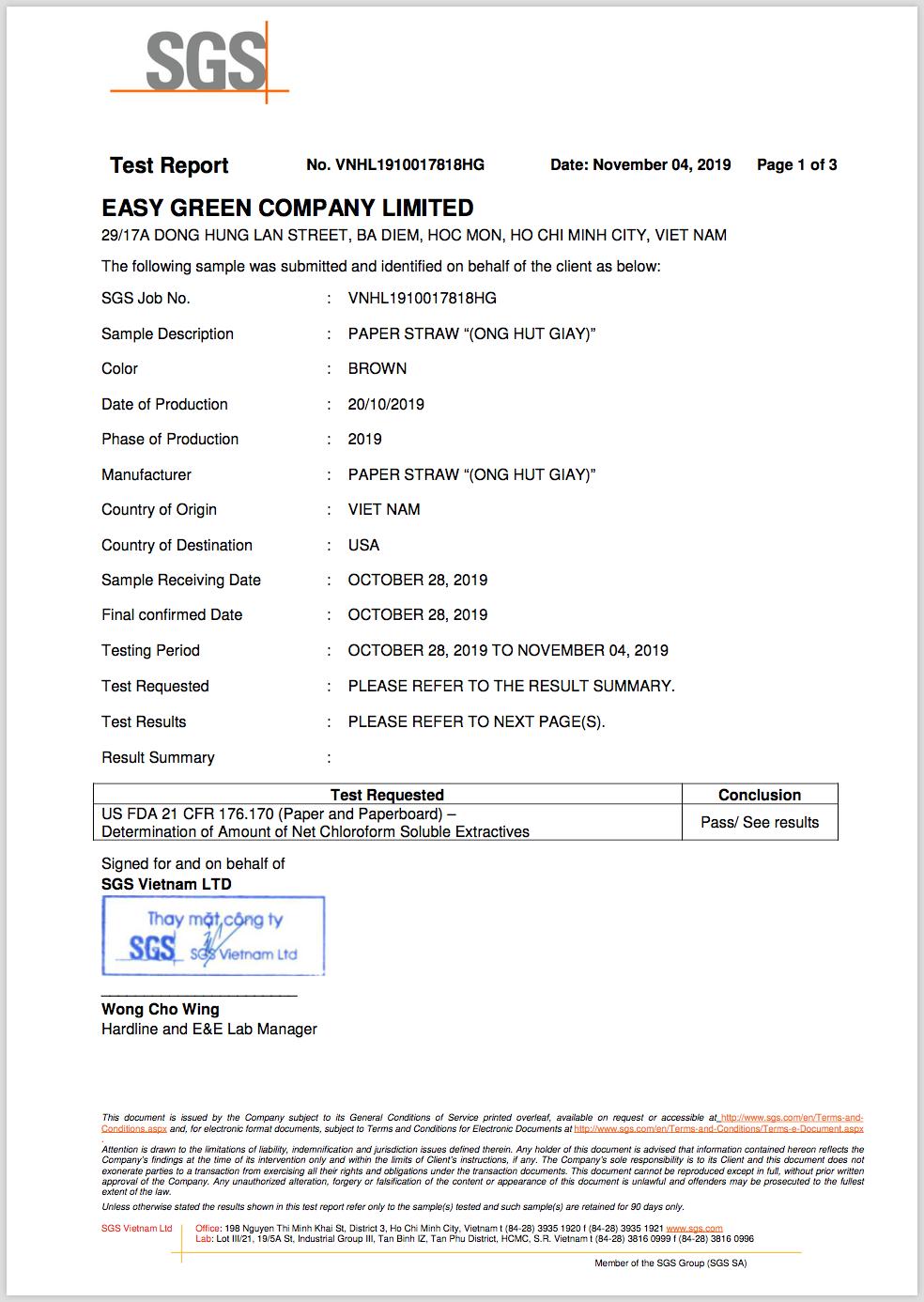 Ống hút giấy đạt tiêu chuẩn FDA cảu Hoa Kỳ do SGS cấp