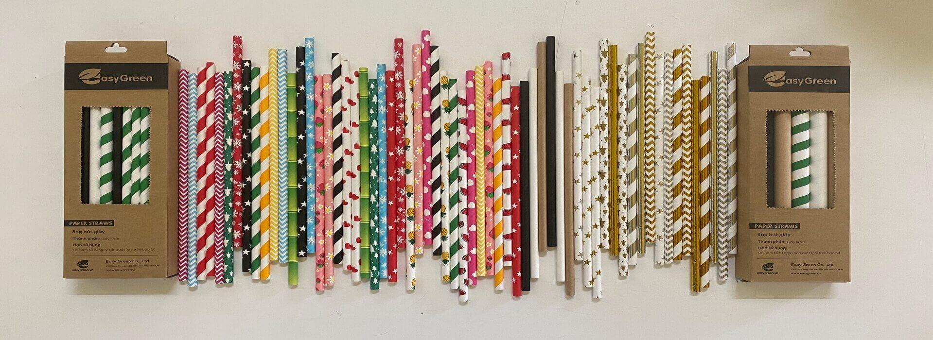 Ống hút giấy nhiều màu sắc