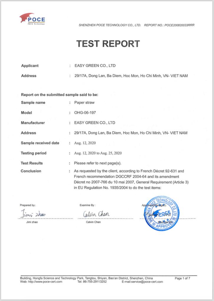 Chứng nhận đạt tiêu chuẩn DGCCRF (Pháp) - Sản phẩm ống hút giấy Easy Green